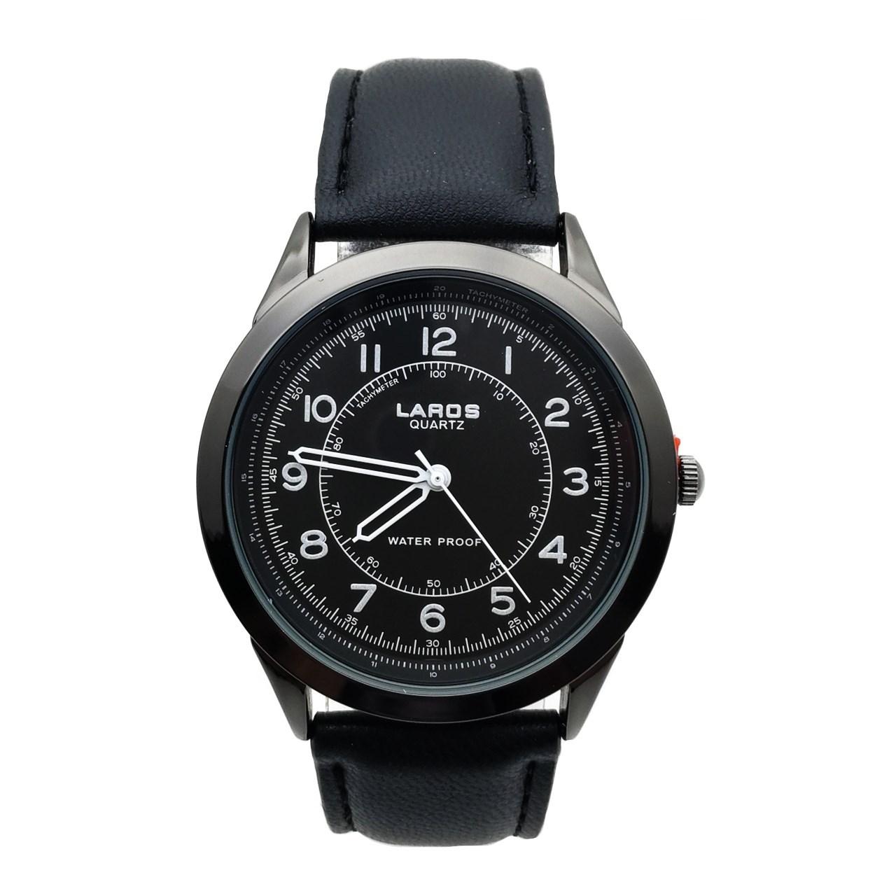 قیمت و خرید                      ساعت مچی عقربه ای مردانه لاروس مدل80047S-Black به همراه جاسوییچی طرح ابزار