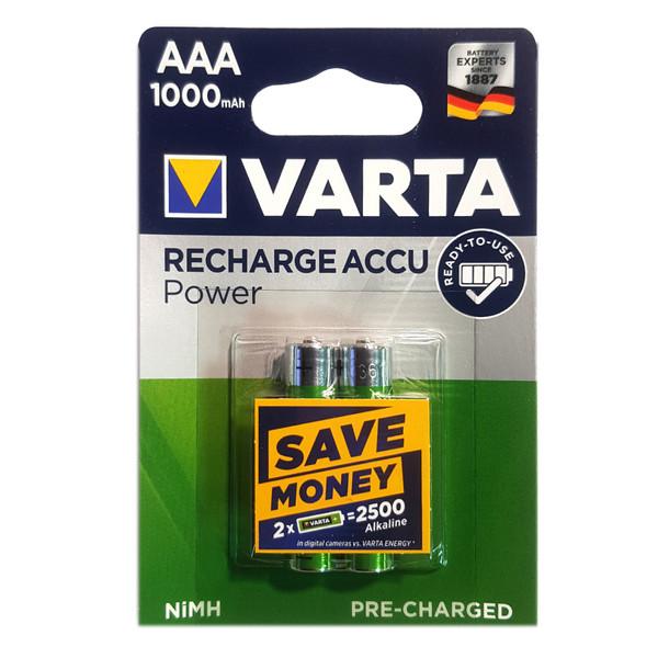 باتری نیم قلمی قابل شارژ وارتا مدل ACCU-1000 بسته 2 عددی
