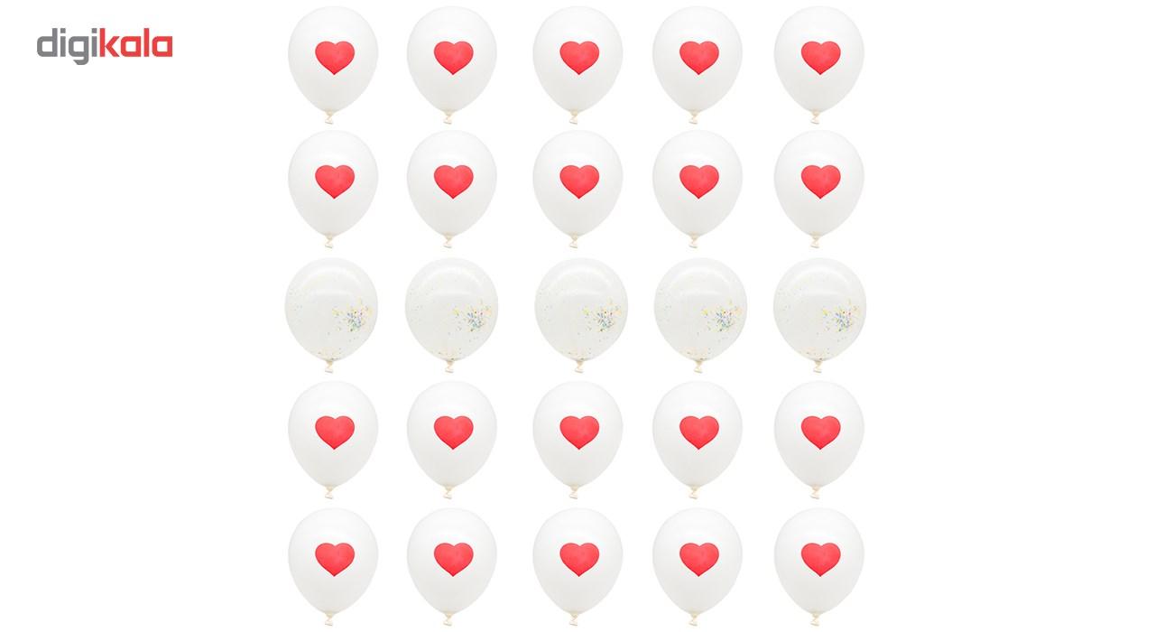 بادکنک مدل قلب و یونولیتی بسته 25 عددی