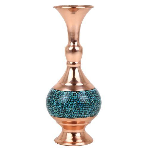 گلدان مسی فیروزه کوب گالری گوهران مدل کرواتی کوچک کد 1408
