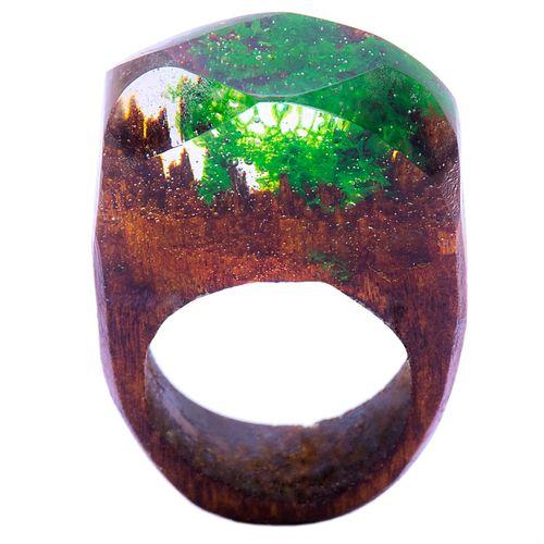 انگشتر باربد مدل چوب و شیشه کد Q214