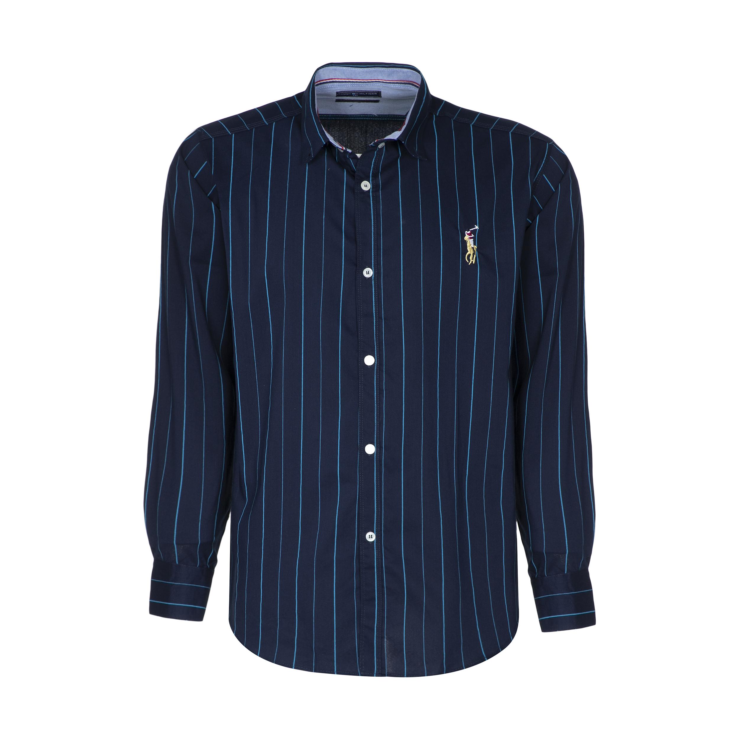 پیراهن آستین بلند مردانه مدل PVLF JAM رنگ آبی نفتی