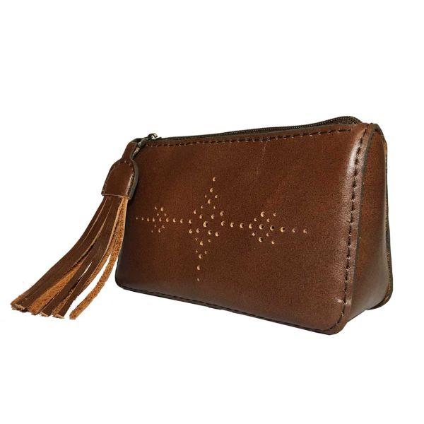 کیف لوازم آرایش چرمی دستدوز  گلیما مدل 261