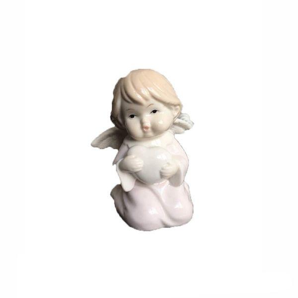 مجسمه سرامیکی خانه سفید مدل فرشته قلب به دست