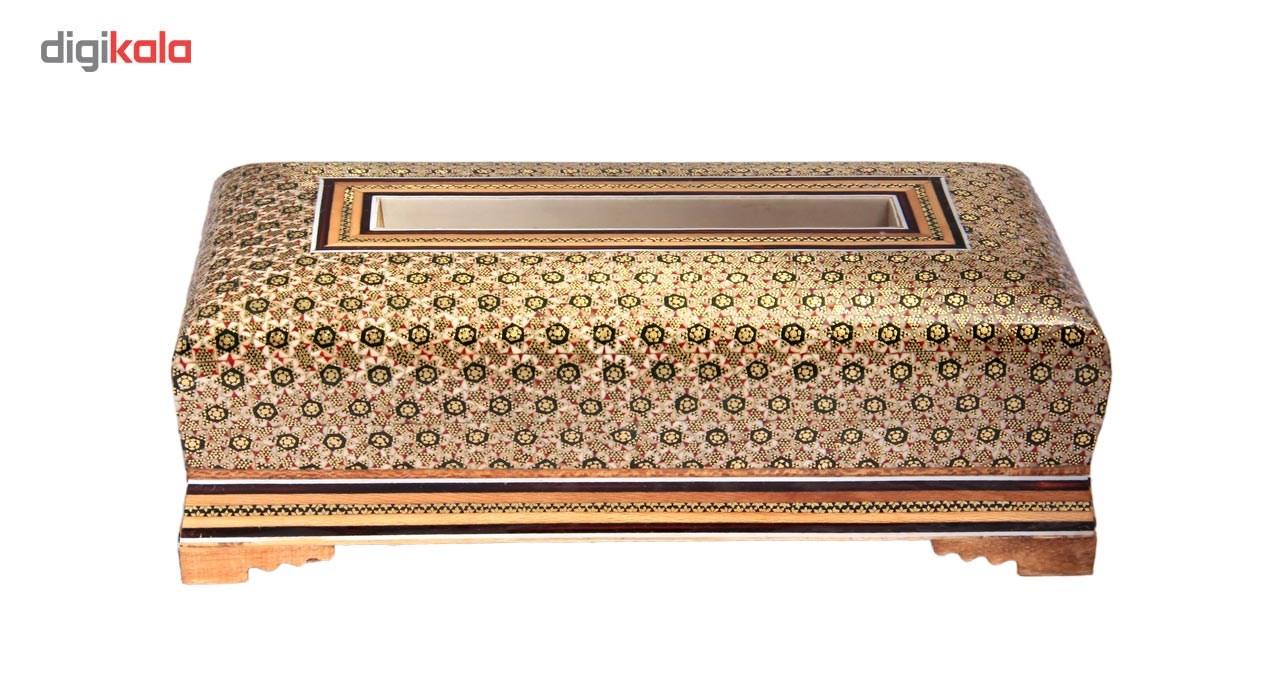 خرید                      جعبه دستمال کاغذی خاتم کاری چیتساز کد 7-70021