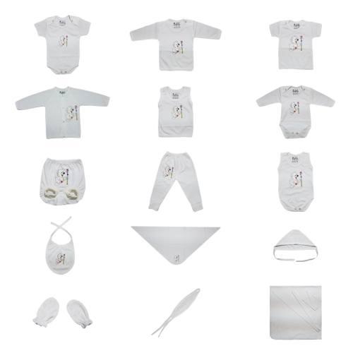 ست کامل پانزده تکه لباس نوزادی برند پرنسس مدل WHITE