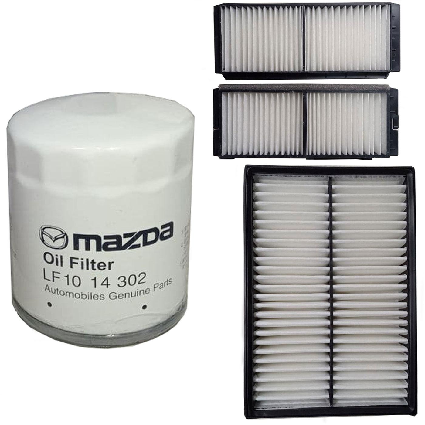 فیلتر روغن خودرو مزدا مدل LF1014-302 مناسب برای مزدا 3 به همراه فیلتر هوا و فیلتر کابین