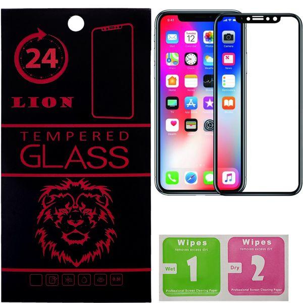 محافظ صفحه نمایش تمام چسب شیشه ای لاین مدل 5D مناسب برای گوشی اپل آیفون X