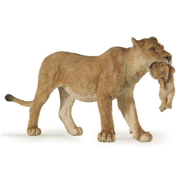 فیگور  پاپو مدل حیوان وحشی ماده شیر بچه به دهان