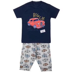 ست تی شرت و شلوارک پسرانه مدل ماشین کد 3303 رنگ سرمه ای