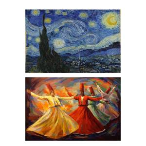 تابلو 2  تکه گالری هنری پیکاسو  طرح معروف ترین نقاشی های جهان کد PT139