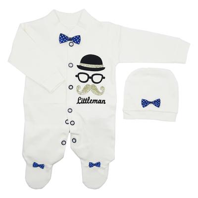ست سرهمی و کلاه نوزادی طرح مرد کوچک