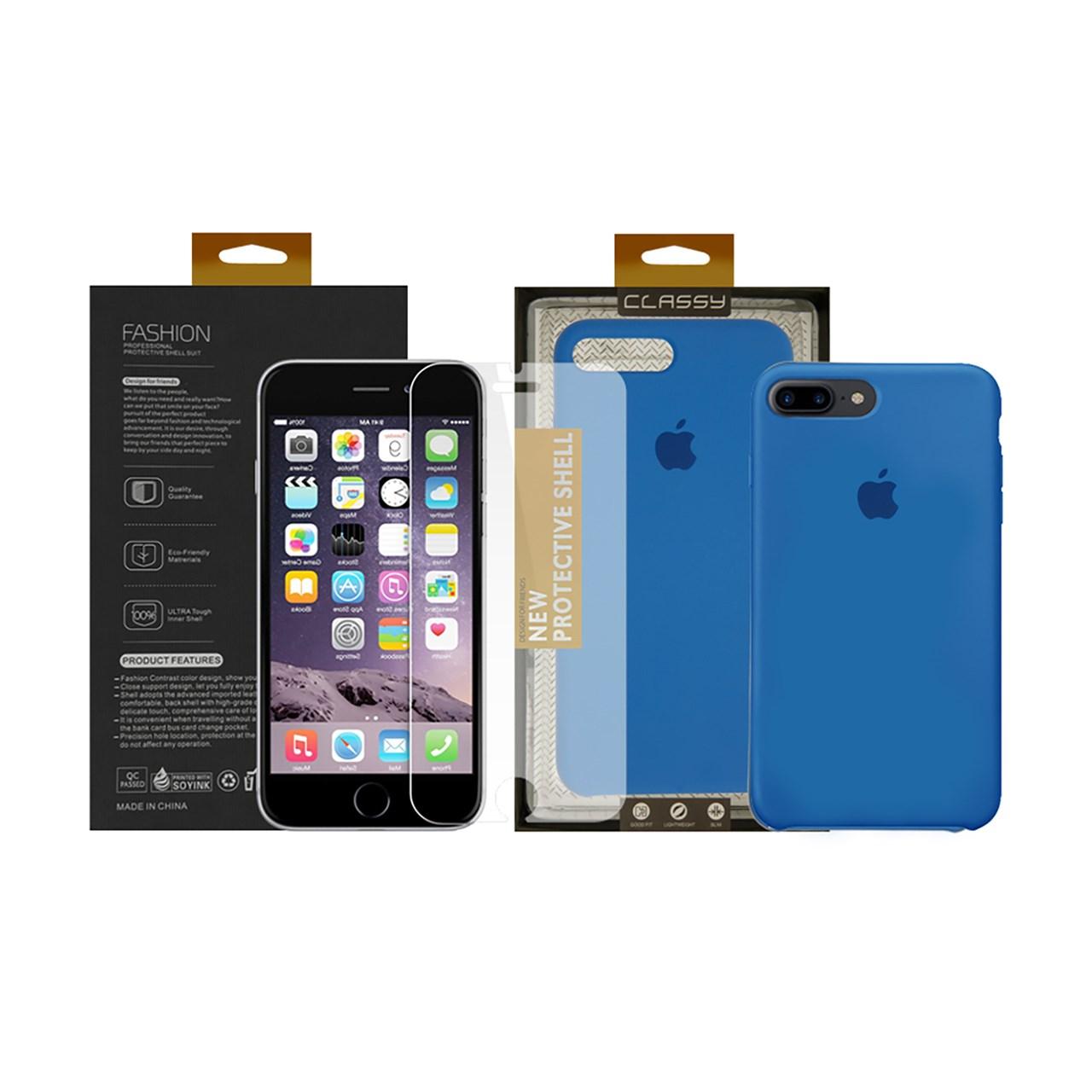 کاور سومگ مدل سیلیکونی مناسب برای گوشی موبایل اپل آیفون 7 پلاس/8 پلاس به همراه محافظ صفحه نمایش
