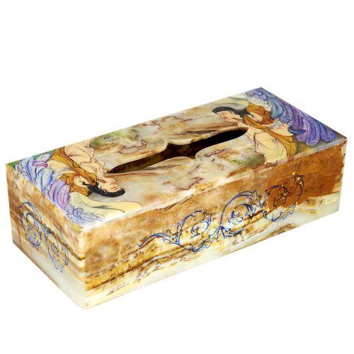 جعبه دستمال کاغذی سنگ مرمر اثر بابائی مدل لیلی و مجنون