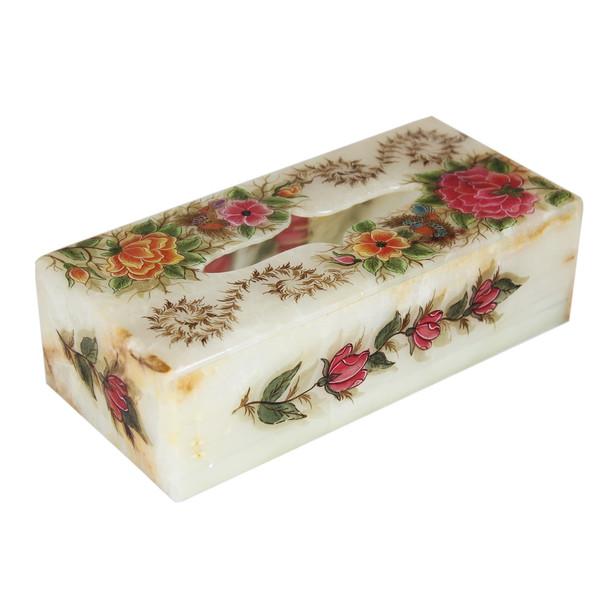 جعبه دستمال کاغذی سنگ مرمر اثر بابایی طرح گل و مرغ کد 3