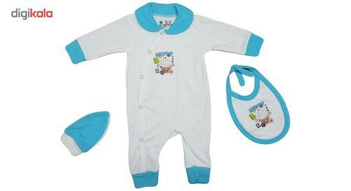 ست سه تکه سرهمی لباس نوزادی برند پرنسس مدل BLUE