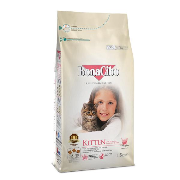 غذای خشک بچه گربه بوناسیبو کد 608 وزن 1.5 کیلوگرم