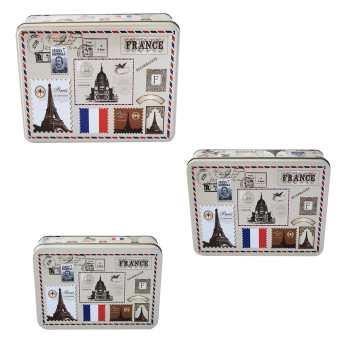 جعبه فلزی نقطه مدل PostCard مجموعه 3 عددی
