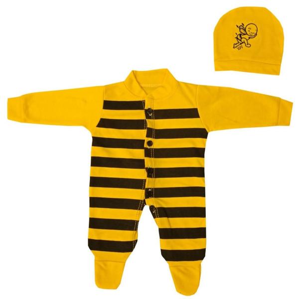 ست سرهمی و کلاه نوزادی مدل زنبوری