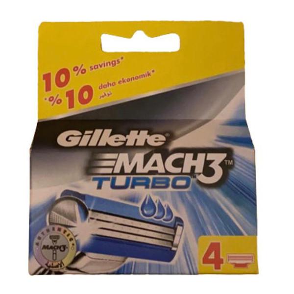 تیغ یدک ژیلت مدل mach3 turbo بسته ۴ عددی