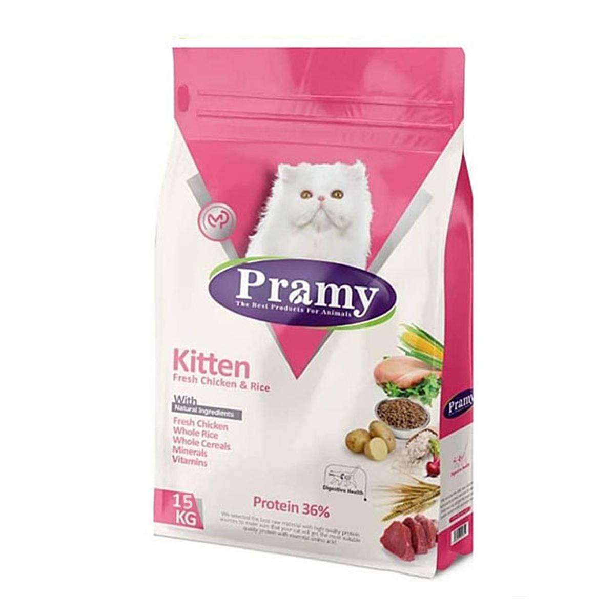 غذای خشک بچه گربه پرامی مدل kitten وزن 15کیلوگرم