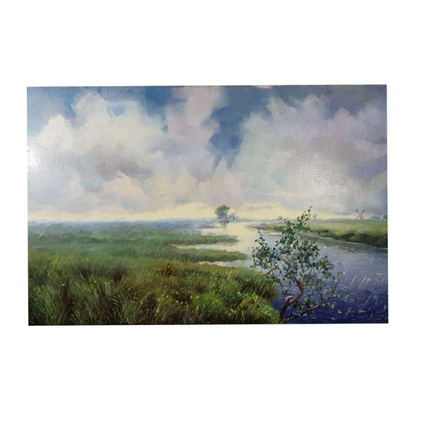 تابلو نقاشی رنگ روغن مدل طبعیت بارانی کد ۱۲