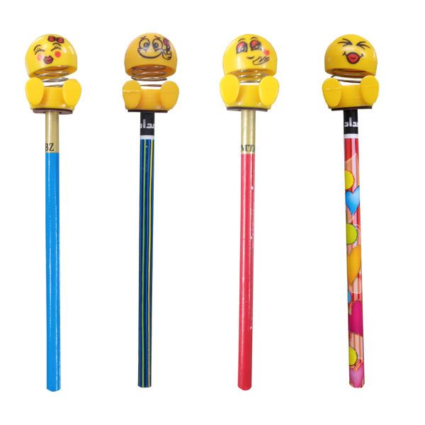 مداد مشکی مدل emoji مجموعه 4 عددی به همراه سر مدادی