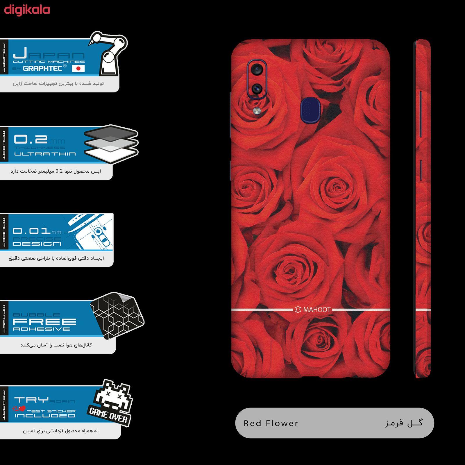 برچسب پوششی مدل Red-Flower مناسب برای گوشی موبایل سامسونگ Galaxy M10s