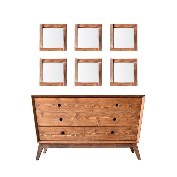 دراور چوبی دیزوم مدل دیالما همراه با 6 آینه چوبی