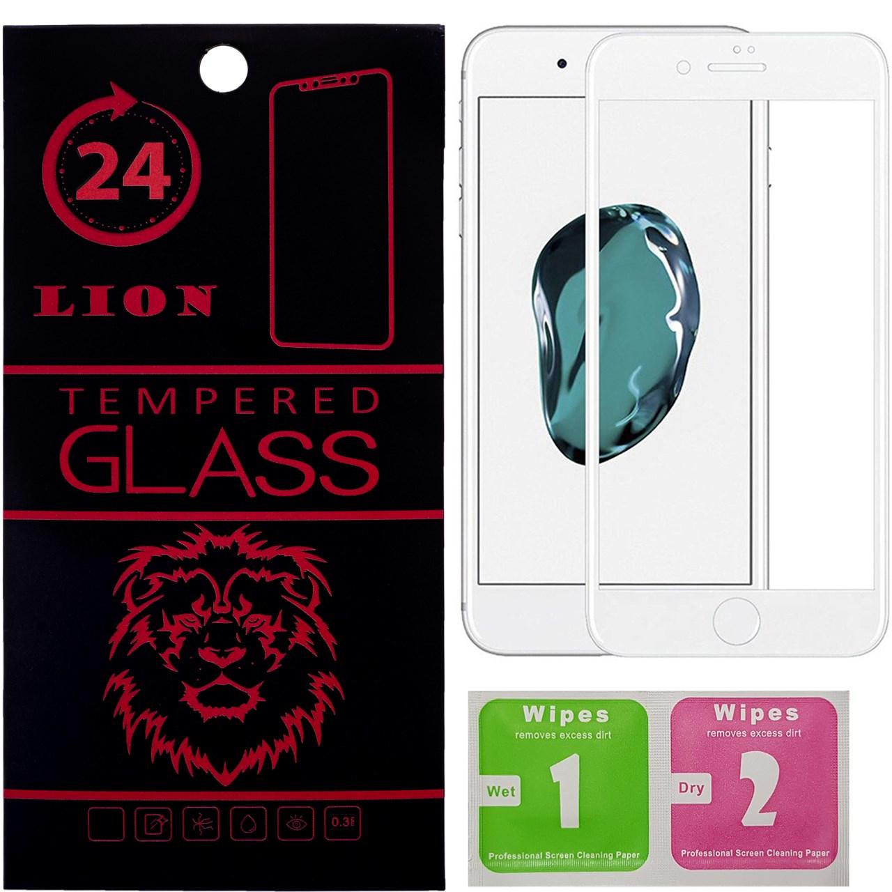 محافظ صفحه نمایش تمام چسب شیشه ای لاین مدل 5D مناسب برای گوشی اپل آیفون 8 پلاس