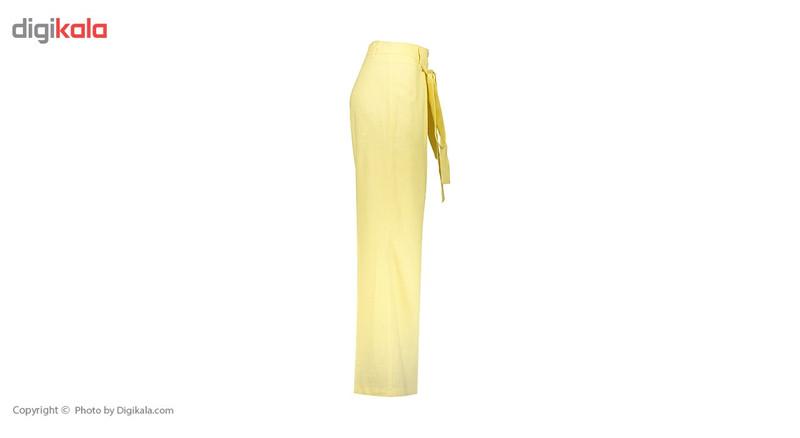 شلوار زنانه دمپا گشاد پارچه ای  لیمویی مدل 231