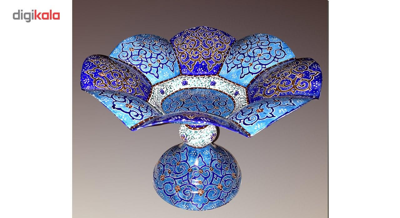 شیرینی خوری مسی میناکاری گالری آسمانی طرح گلبرگ فیروزه مدل Conf-5