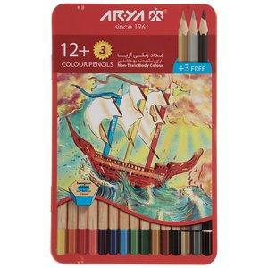 مداد رنگی 12+3 رنگ آریا مدل 3021