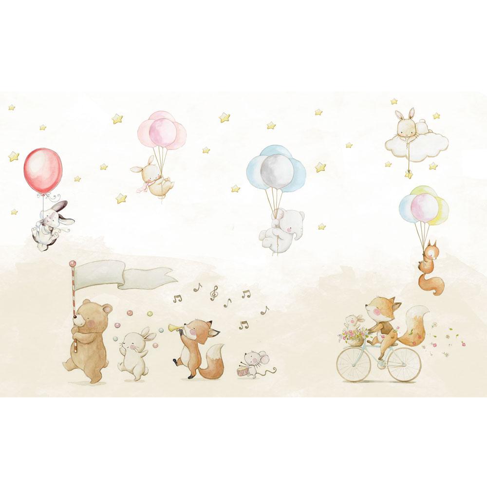 پوستر دیواری سه بعدی اتاق کودک مدل حیوانات کد KA009