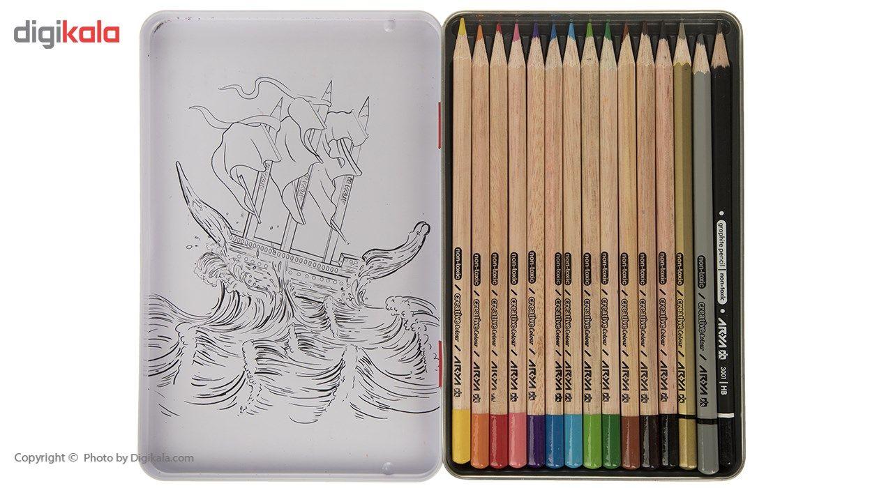 مداد رنگی 12+3 رنگ آریا مدل 3021 main 1 3