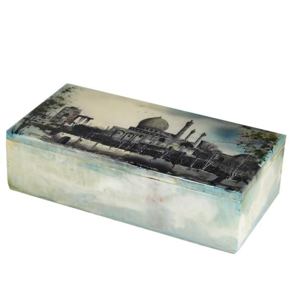 جعبه سنگ مرمر اثر بابایی طرح ابنیه سایز 20 × 10 سانتی متر
