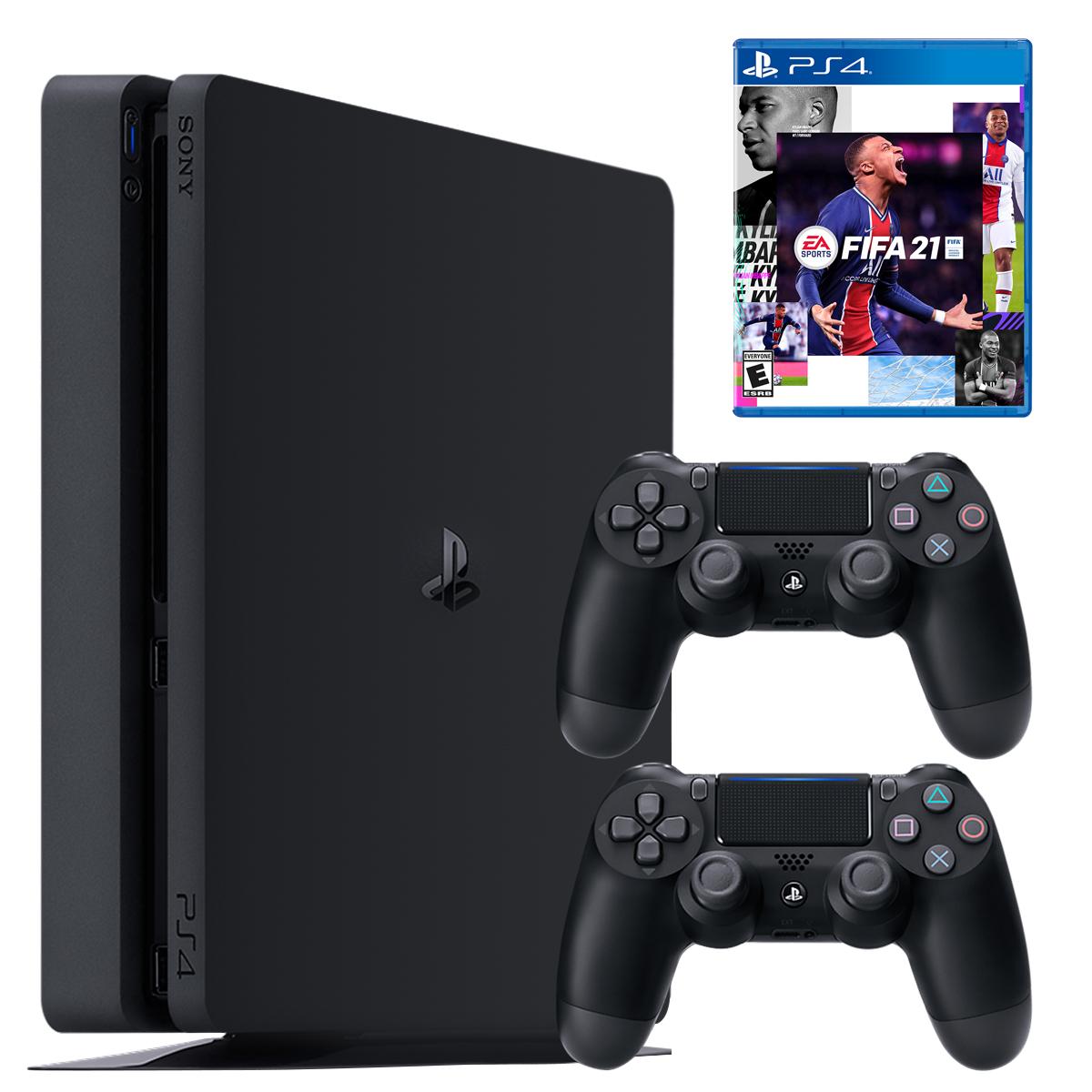 مجموعه کنسول بازی سونی مدل PlayStation 4 Slim ریجن ۳ کد CUH-2218B ظرفیت ۱ ترابایت به همراه بازی فیفا۲۱