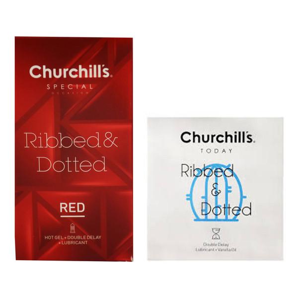 کاندوم چرچیلز مدل خاردار و شیاردار بسته 12 عددی به همراه کاندوم چرچیلز مدل شیاردار و خاردار بسته 3 عددی