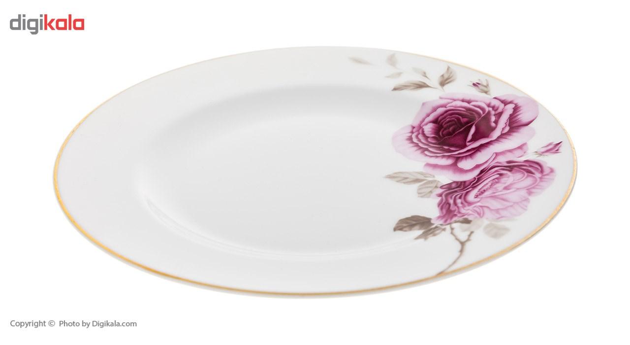سرویس غذاخوری 28 پارچه چینی زرین ایران سری ایتالیا اف مدل رز  فلاور درجه عالی