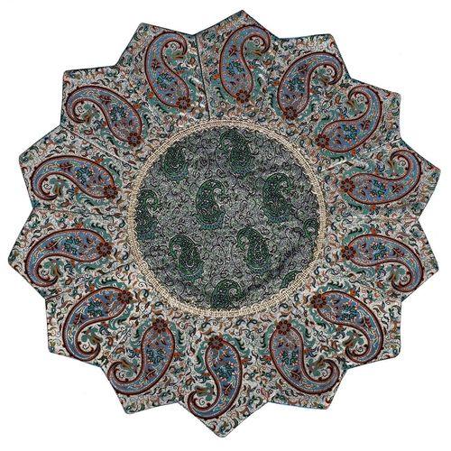 رومیزی ترمه ابریشمی ترمه حسینی طرح خورشید مدل 07-33
