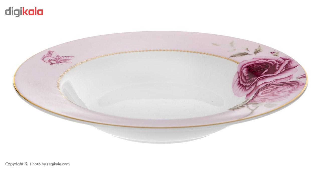 سرویس غذاخوری 28 پارچه چینی زرین ایران سری ایتالیا اف مدل Rose Flower 2 درجه عالی