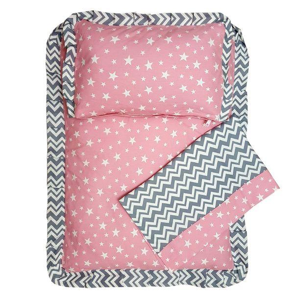 سرویس سه تکه خواب نوزادی چرمیش طرح آناهیتا پاپیونی صورتی