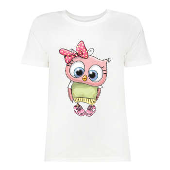 تی شرت زنانه طرح جغد کد 2473
