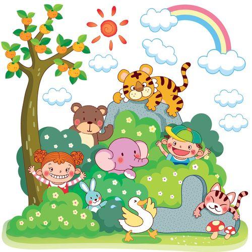 استیکر دیواری شادی با حیوانات