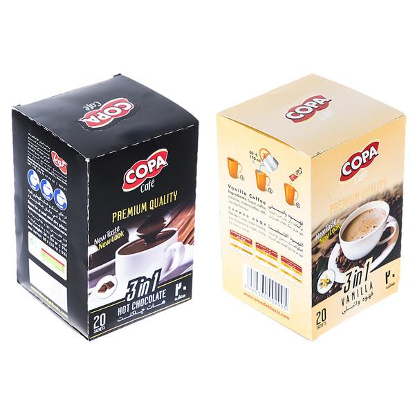 قهوه فوری وانیلی و هات چاکلت کوپا بسته 40 عددی