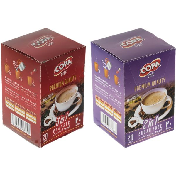 قهوه فوری کلاسیک و بدون شکر کوپا بسته 40 عددی