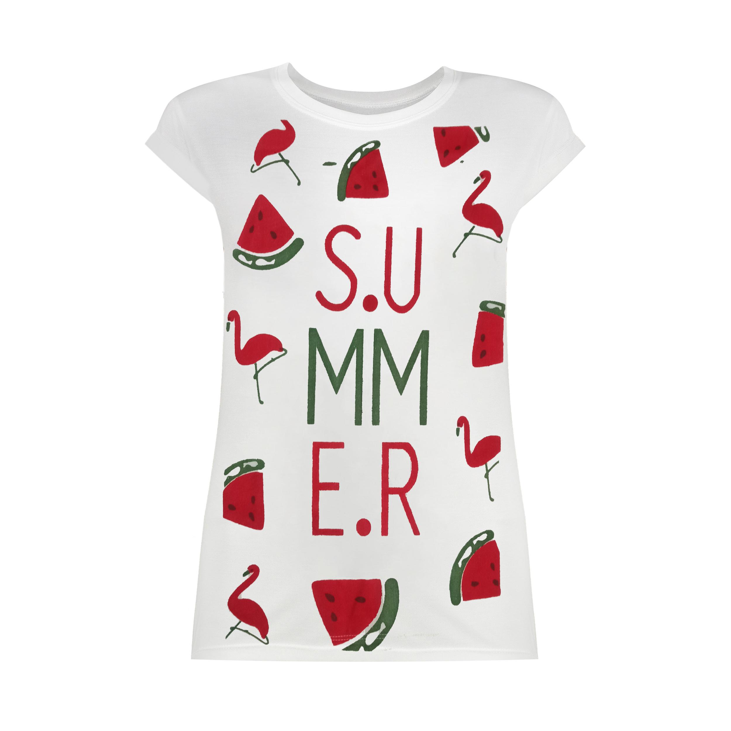 تی شرت زنانه طرح SUMMER کد SR2115W