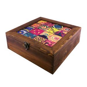 جعبه دمنوش چوبی گالری گل مریم طرح خشتی