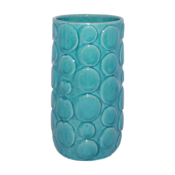 گلدان سفالی آبی عمیق طرح حباب کد 115