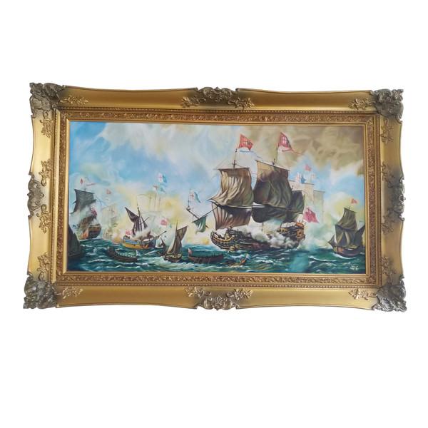 تابلو نقاشی رنگ روغن طرح کشتی جنگی